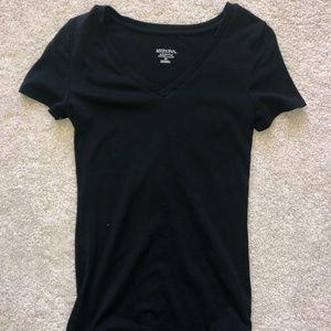 Merona Fitted Black V Neck Short Sleeve T Shirt
